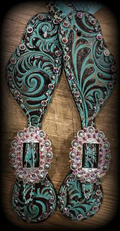 Turquoise Scroll Spur Straps IN STOCK - DEUCES WILD TACK LLC