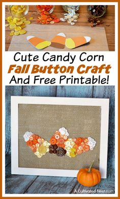 Button crafts are easy, inexpensive, and fun! So if you're looking for a fun fall craft, you have to try this cute candy corn fall button craft! Free printable included!