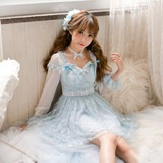 Buy Candy Rain Lace Panel Long-Sleeve Dress | YesStyle