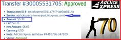 WITHDRAWAL PROOF FROM ADCLICKXPRESS NO70 Work from home 15 minutes a day, make money and cover your low salary or make it full-time job income. NO SCAM with ACX! You can be successful online as well! If you want to have safe and daily passive income, please register to ACX as soon as possible. Join me, and you will make money for sure! If you want to feel best internet life style, start here: http://bit.ly/1JxIgQY