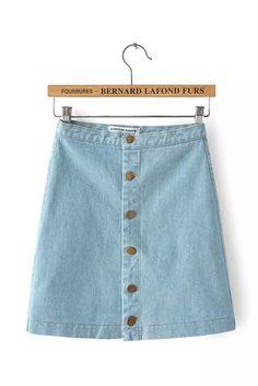 Light Blue Denim Button Up Mini Skirt