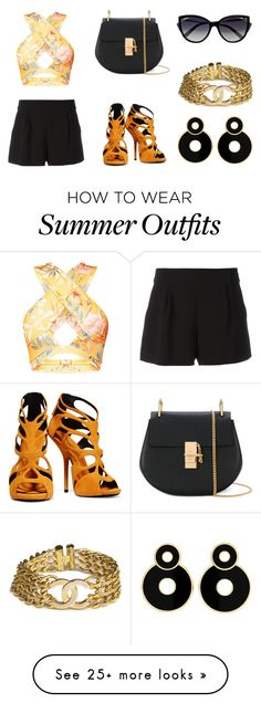 """""""Orange Summer outfit"""" by akkalove on Polyvore featuring Boutique Moschino, Giuseppe Zanotti, Chloé, La Perla, Chanel, Summer, ootd and summer2017"""