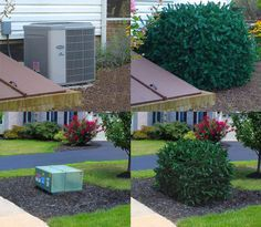 Realistic faux shrubs designed to conceal utility equipment eyesores around the outside of your home without interferring with their operation.