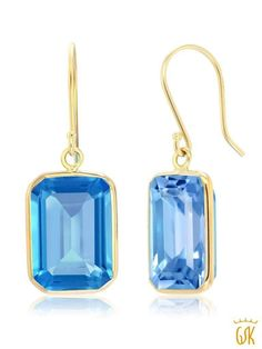 Morganit Topas Ohrringe  Filled Gold K18 //750er Ohrringe Elegante Damen