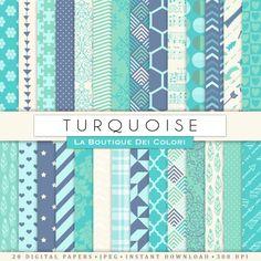 Patrones de papel azul turquesa papel por LaBoutiqueDeiColori