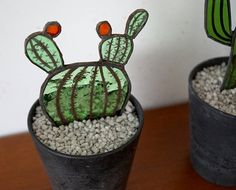 Stained Glass Cactus, Cactus for your home,Decorative Cacti, Hand painted Cactus, Cactus made from old Glass, Up cycled Glass I have been collecting glass from old doors, windows, cabinets etc. for years and now I found it time to re-use this old glass in some new decorative pieces. The
