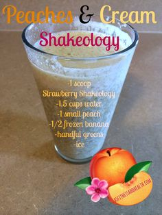 Try out this Peaches & Cream Shakeology recipe! It would work with strawberry shakeology, vegan tropical strawberry shakeology, AND vanilla shakeology (just add strawberries! Check this recipe out and Strawberry Shakeology Recipes, Vanilla Shakeology, Shakeology Flavors, Vegan Shakeology, Juice Smoothie, Smoothie Drinks, Smoothie Recipes, Milkshake Recipes, Shakeology Shakes