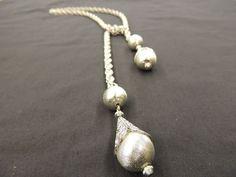 "Vintage Silvertone Multi Link Ball Filigree ""Tie"" Wrap Pendant Necklace Textured #Unbranded #Multilinkchain"