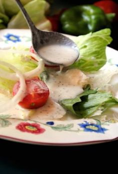 Creamy Greek Salad Dressing (in search of: Detroit's pink Greek dressing; this looks...  not pink enough)