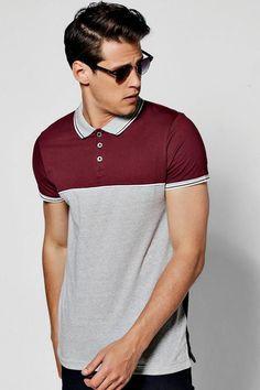 boohoo Sports Rib Colour Block Button Polo Polo Shirt Style, Polo Shirt Outfits, Polo Rugby Shirt, Mens Polo T Shirts, Boys T Shirts, Camisa Polo, Estilo Cool, Tennis Fashion, Long Sleeve Tee Shirts