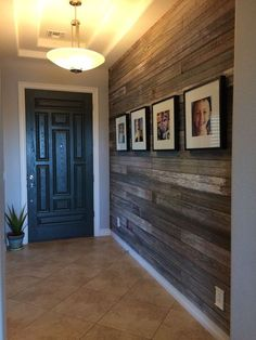 Transitional Entryway with Antique Reclaimed Wood Blend, flush light, Ms international angelica gold travertine tile