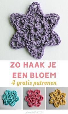 Haken voor beginners: zo haak je een makkelijke bloem. 4 gratis en duidelijke Nederlandstalige haakpatronen. #haken #bloemen Chrochet, Knit Crochet, Crochet Hats, Holly Hobbie, Business Card Size, Knitting For Beginners, Garter Stitch, Beautiful Crochet, Crochet Flowers