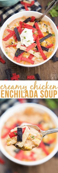 This creamy chicken enchilada soup is packed full of flavors with black beans, shredded chicken, corn, diced tomatoes and more for a creamy and delicious, comforting bowl of soup that everyone will love!