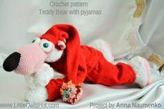 Project by Anna Naumenko. Teddy Bear with pyjamas crochet pattern. #LittleOwlsHut, #Bear, #Astashova, #Amigurumi, #CrochetPattern, #DIY, #BearPotapchik