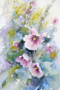 watercolor and ink simple love Watercolor Artists, Watercolour Painting, Watercolor Flowers, Painting & Drawing, Watercolours, Art Oil, Painting Inspiration, Flower Art, Drawings