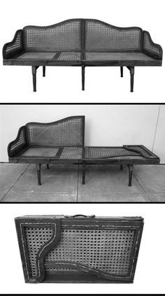 Collapsible and Portable Campaign Bench and Lounge. It has an adjustable feature that allows a person to lay at any number of different angles. This unique design completely collapses into a handy suitcase sized bundle. Folding Furniture, Antique Furniture, Cool Furniture, Furniture Design, Rustic Furniture, Luxury Furniture, Chair Design, Furniture Ideas, Automotive Furniture