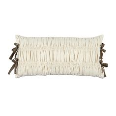 Daphne Pleated Decorative Pillow in Ivory White with Ribbon Ties