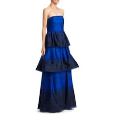 Carolina Herrera Layered Silk Gown (50.890 ARS) ❤ liked on Polyvore featuring dresses, gowns, floor length dresses, floor length evening dresses, blue evening dresses, floor length gowns and silk dress
