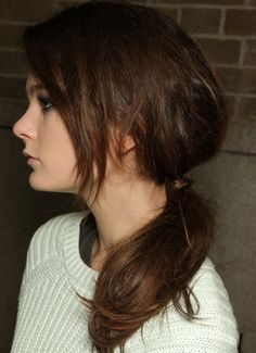 side part haircut layered ponytail and bangs hairstyle hair 9514