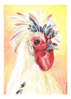 Items similar to Rooster Art - Chicken Art - Vegan Art - Gallery Wall Art - Chicken Lover Gift - Small Art Print - Farmhouse Decor - Farm Animal Print on Etsy Rooster Art, Chicken Art, Bird Art, Beautiful Birds, Small Gifts, Farm Animals, Painting & Drawing, Fun Stuff, Egg
