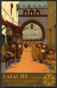 Larache, Preciosa lámina, reproducción de un cuadro de Bertuchi