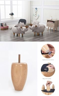Furniture Objective Mini Cute Dinosaur-shape Creative Wooden Footstool Sturdy Storage Shoe Bench Sofa With Bronzing Fabric Wooden Legs 10 Color