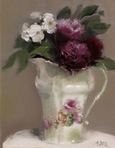 "Rose Pitcher by Andrea Dern Oil ~ 10"" x 8"""