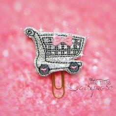 SHOPPING CART Glitter Paper Clip by LittleMissDaisyrose on Etsy