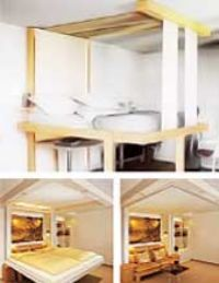 bed retracts into the ceiling