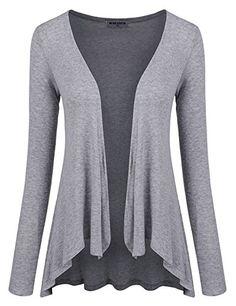 NEARKIN Womens Fitted No button Long Sleeve Summer Wear Cardigan