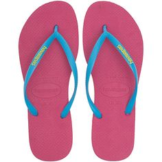 HAVAIANAS Slim Logo Pink // Rubber thong sandals (955 UYU) ❤ liked on Polyvore featuring shoes, sandals, flip flops, flats, women's shoes, thong sandals, summer flip flops, flat shoes, beach sandals and summer flats
