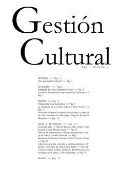 """Revista Gestión Cultural N°0 DOSSIER: """"Profesionalizar la gestión cultural"""""""