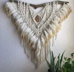 Golden hills macrame wall hanging feather art agate by imyourgypsy
