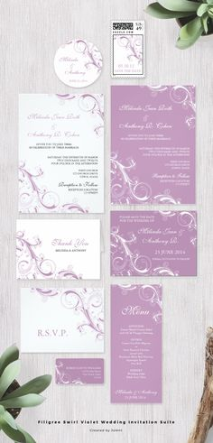 This African Violet swirls wedding invitation suite collection | background color customizable