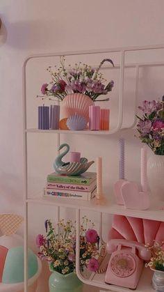 Funky Bedroom, Room Design Bedroom, Room Ideas Bedroom, Diy Bedroom Decor, Bedroom Inspo, Home Decor, Pastel Room Decor, Pastel Bedroom, Cute Room Decor