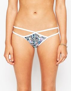 ASOS Cloudy Animal Print Strappy Cut Out Bikini Bottom