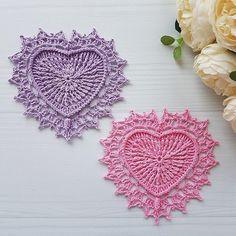 8 Lovely Crochet Heart Doilies Free Patterns Vintage Crochet Doily Pattern, Crochet Mandala Pattern, Crochet Diagram, Crochet Squares, Free Crochet, Crochet Doilies, Granny Squares, Crochet Crafts, Crochet Projects
