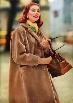 Suzy Parker in winter fashion, 1956.