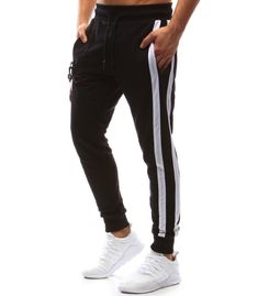Pánske čierne teplákové jogger nohavice