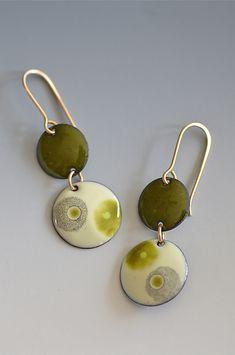 Yuragi Two-Tone Earrings: Reiko Miyagi: Silver & Enamel Earrings | Artful Home