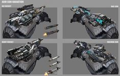 explorations and variations of the arm. Anime Weapons, Sci Fi Weapons, Fantasy Weapons, Weapons Guns, Fantasy Warrior, Futuristic Armour, Futuristic Art, Futuristic Technology, Robot Concept Art
