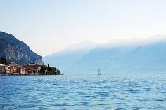 The village of Gargnano and Sailboat on Lake Garda, Italy