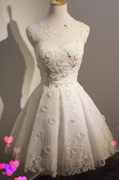 White Applique Homecoming Dress,A-Line Red Homecoming Dresses