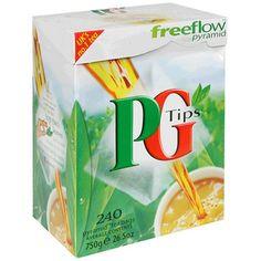 PG Tips Black Tea, Pyramid Tea Bags, my tea of choice. Milky, naturally...