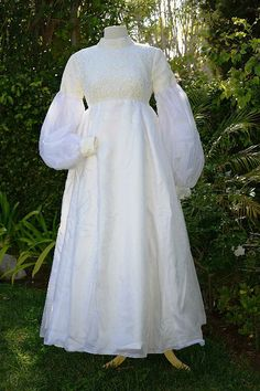 Vintage 60s White Lace Boho Wedding Gown, Juliette Sleeve Long Detachable Train, High Neckline Empire Waist XS/S
