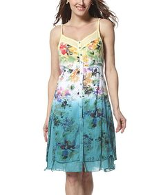 Another great find on #zulily! Yellow & Turquoise Floral Ombré A-Line Dress by Simply Couture #zulilyfinds