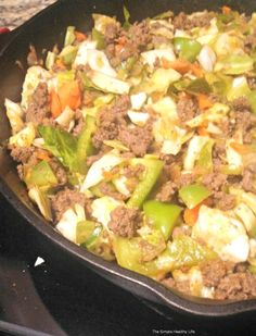 Paleo beef & cabbage skillet...But I used ground turkey and added fresh minced garlic, crushed red pepper, and bean sprouts.