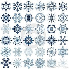 Big new collection blue snowflakes