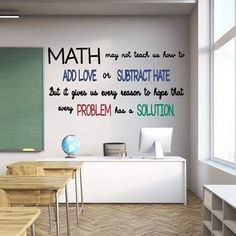 Math vinyl wall decals for teaching // add love, subtract hate . - Math vinyl classroom wall decals // add love, subtract hate – math cannot teach us to add love or - Math Quotes, Classroom Quotes, Classroom Walls, Classroom Design, Math Sayings, Classroom Wall Decor, Math Memes, Math Teacher Quotes, Funny Math Jokes