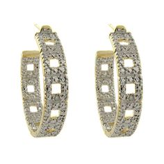@Overstock - This beautiful pair of earrings showcase a unique square design hoop accentuated with bright white diamonds. Crafted with gold overlay, these stylish earrings shine with a highly polished finish and secure with butterfly clasps.http://www.overstock.com/Jewelry-Watches/Fusion-Gold-Overlay-Diamond-Accent-Hoop-Earrings-I-J-I2-I3/6198590/product.html?CID=214117 $14.79